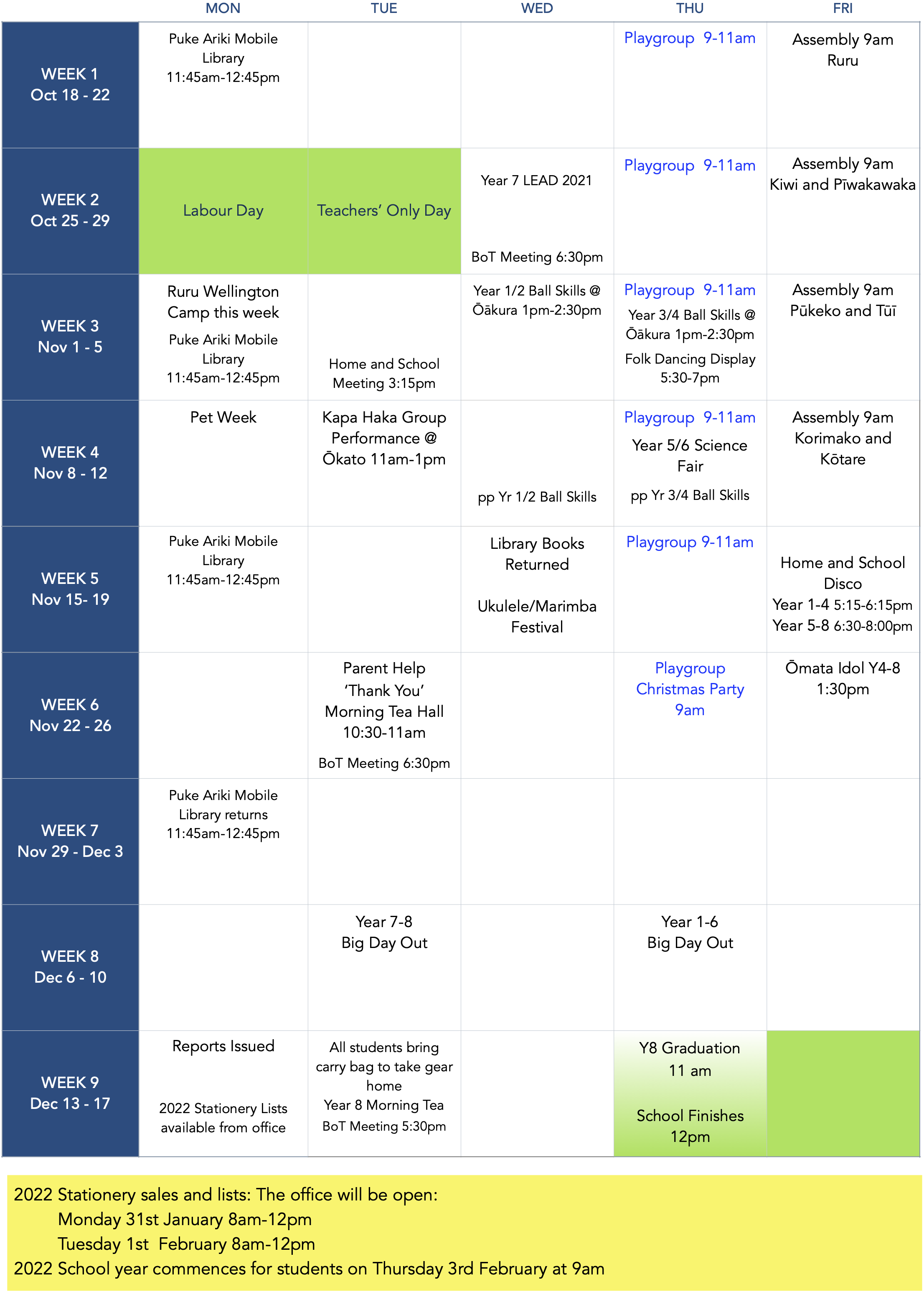 Term 3 Calendar